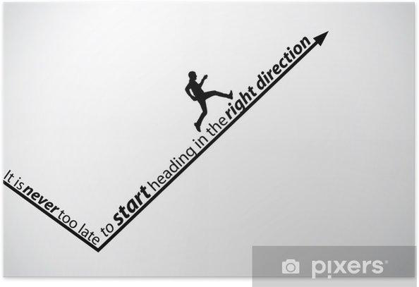 Plakát Jeho nikdy není pozdě motivační citát muž šipka koncept art - Úspěch