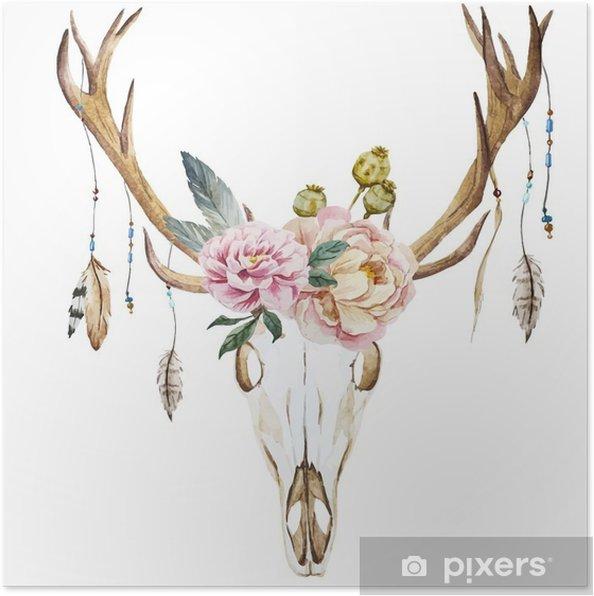 Plakat Jelenie akwarela łeb z polnych kwiatów - Rośliny i kwiaty