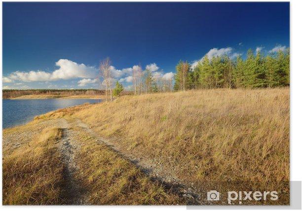 Plakat Jesień jezioro krajobraz z nieba - Woda