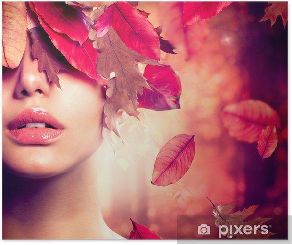 Plakat Jesień portret kobieta mody. spadek - Tematy