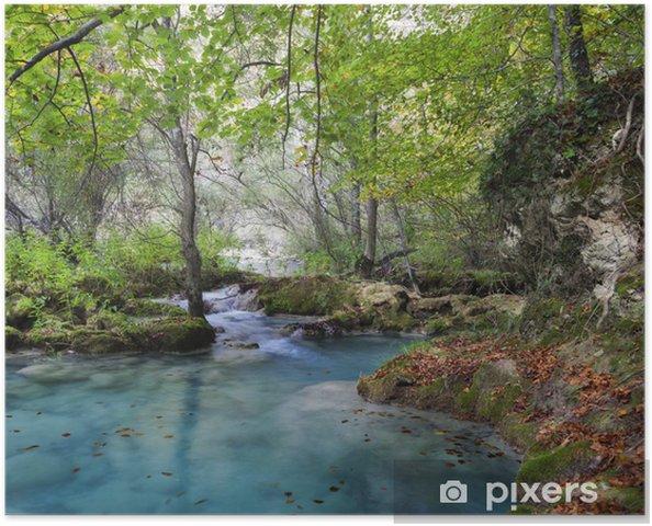 Plakat Jesienią krajobraz z turkusowym water.Northern Hiszpanii. - Tematy