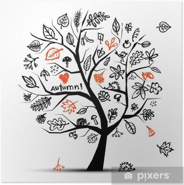 Plakat Jesienne drzewa, rysunek szkic do projektowania - Naklejki na ścianę