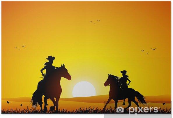 Plakat Jeździec i koń o zachodzie słońca - Sporty indywidualne