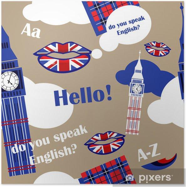 Plakat Język Angielski Tle