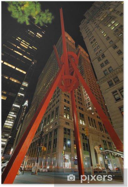Plakat Joie de Vivre w Zuccotti Park w centrum Manhattanu - Miasta amerykańskie
