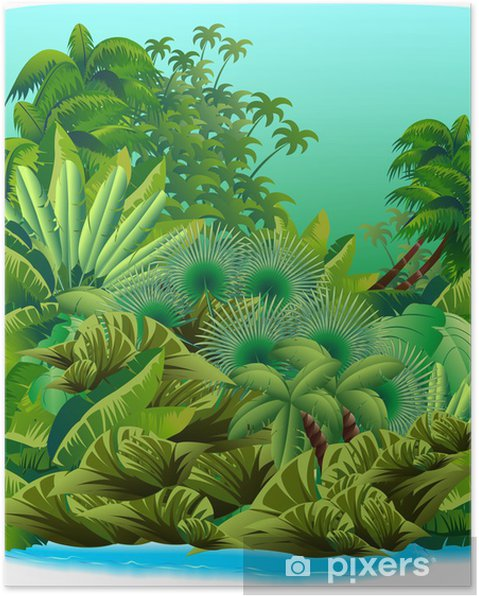 Plakat Jungle Tropical Rain Forest-Giungla-Foresta Tropicale-Vector - Rośliny