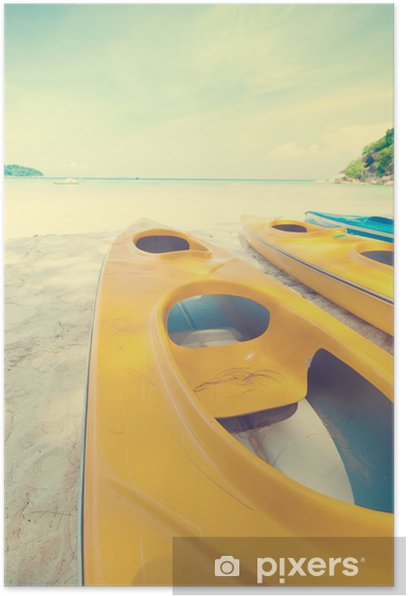 Plakat Kajak na plaży, retro efekt - Woda