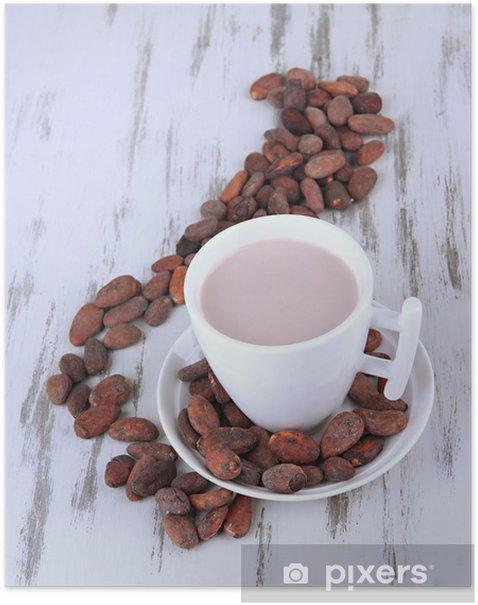 Plakát Kakaové nápoje a kakaové boby na dřevěné pozadí -
