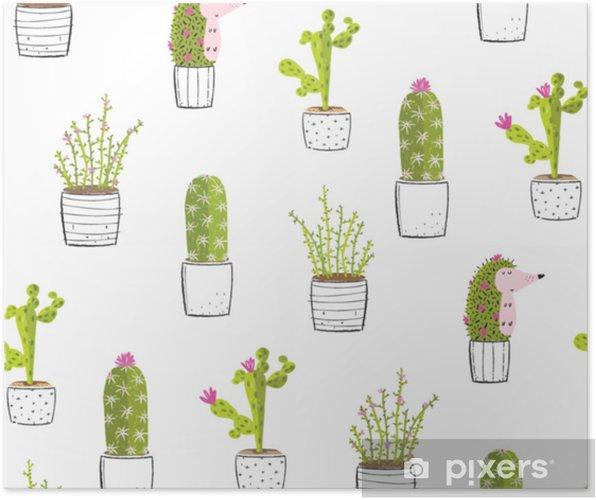 Plakat Kaktus Soczyste Rośliny Słodkie Tło Wzór Wydruku