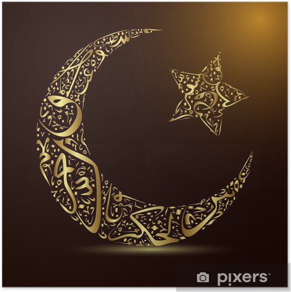 Plakat Kaligrafia, księżyc i gwiazdy - Religie
