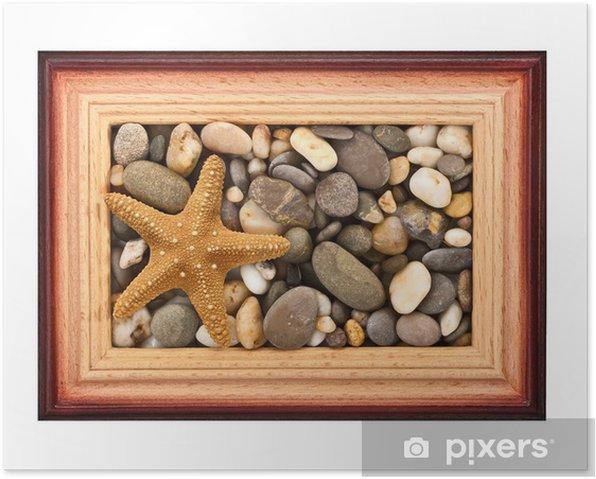 Plakat Kamienie w ramce - Kwiaty