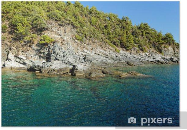 Plakat Kamienista plaża w Grecji, Thassos - Wyspy