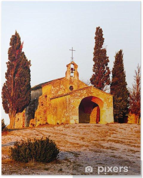 Plakat Kaplica św. Sixte pobliżu Eygalieres, Prowansja, Francja - Europa