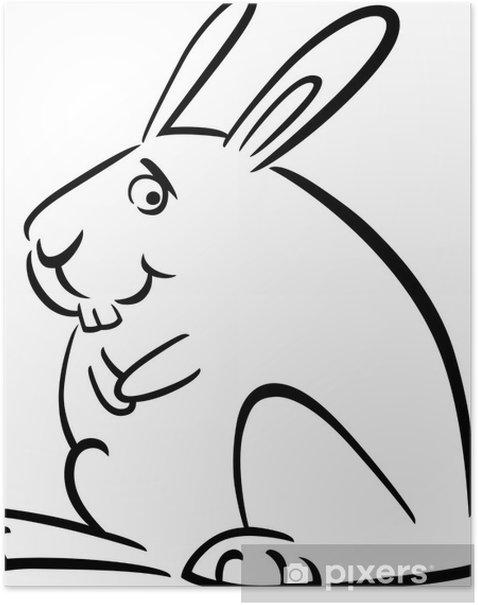 Plakát Karikatura doodle of zajíčka na barvení - Savci