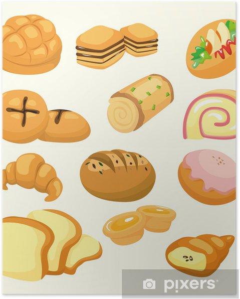 Plakát Karikatura ikona chléb - Jídla