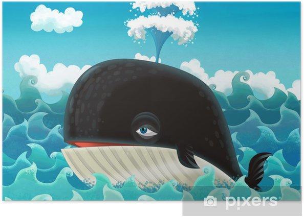 Plakát Karikatura velryby - ilustrace pro děti - Imaginární zvířata