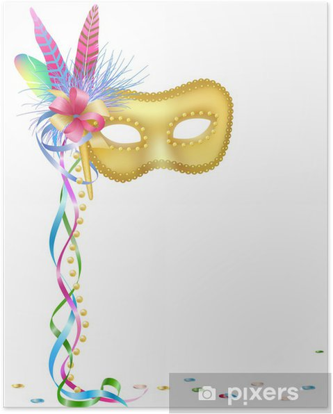 ac2a98a97 Plakát Karneval nebo Mardi Gras masky izolovaných na bílém pozadí. -  Slavnosti