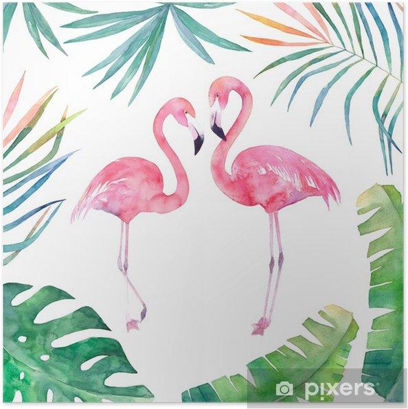 Plakat Karta Akwarela Z Ramą Liści I Dwa Flamingi Ręcznie Rysowane Ilustracji