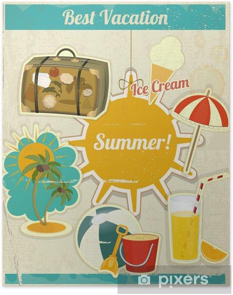 Plakat Karta na wakacje Lato w stylu retro vintage - Wakacje