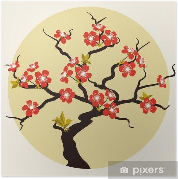 Plakát Karta se stylizovanými Cherry Blossom květy. - Styly