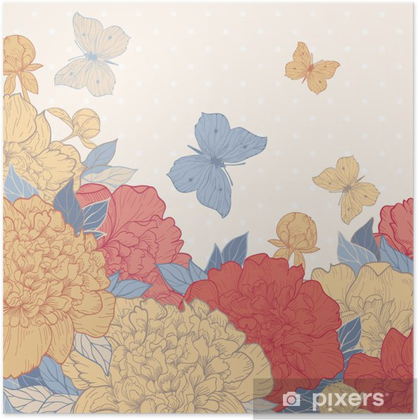 Plakat Karta z piwonii i motyl - Style