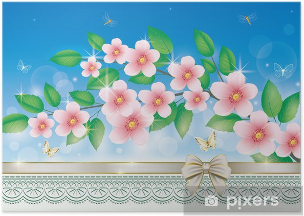 Plakat Karta z pozdrowieniami z kwiatów - Święta Narodowe
