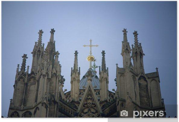 Plakat Katedra w Kolonii ze wschodu, złoty krzyż na dachu - Religie