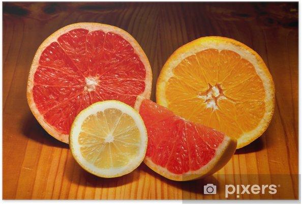 Plakat Kawałki cytryny, grejpfruty czerwony i pomarańczowy - Owoce