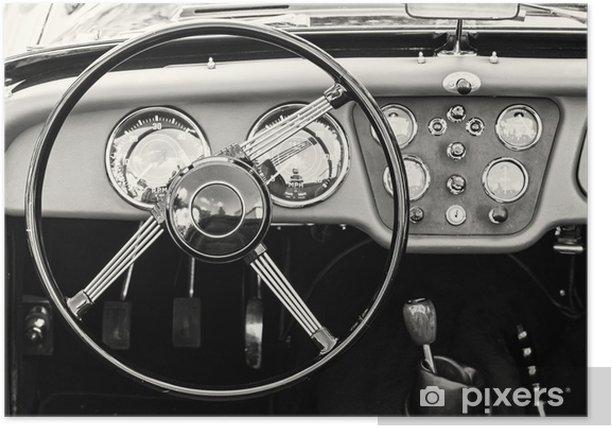 Plakat Kierownicy i deski rozdzielczej w zabytkowym rocznika samochodu - Transport