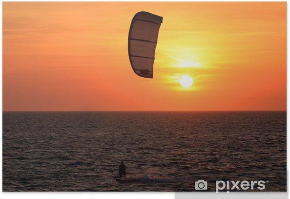 Plakat Kite surfer o zachodzie słońca - Sporty wodne