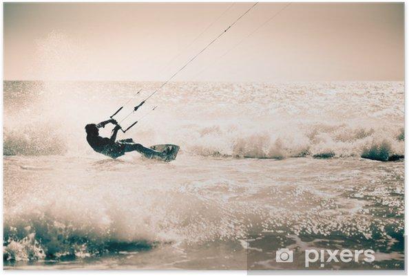 Plakat Kite surfing na falach. - Sporty wodne