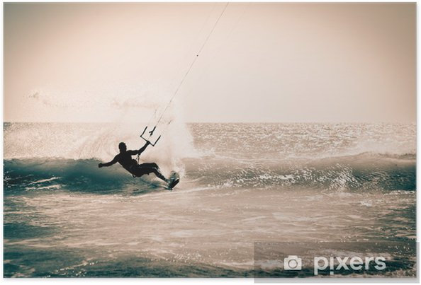 Plakat Kitesurfingu w Andaluzji w Hiszpanii. - Tematy