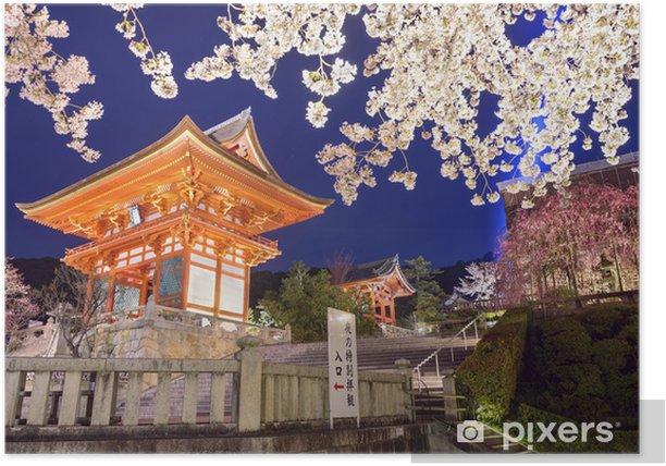 Plakat Kiyomizu-dera sanktuarium w Kyoto, Japonia na wiosnę - Tematy