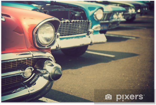 Plakat Klasyczne samochody z rzędu - Transport