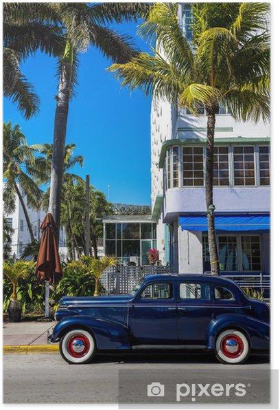 Plakat Klasyczny amerykański samochód na South Beach w Miami - Ameryka