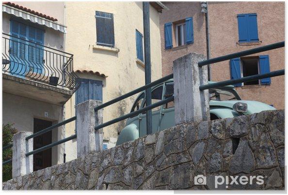 Plakat Klasyczny francuski samochód. Klasyczny french górskiej wioski. Callas. - Europa