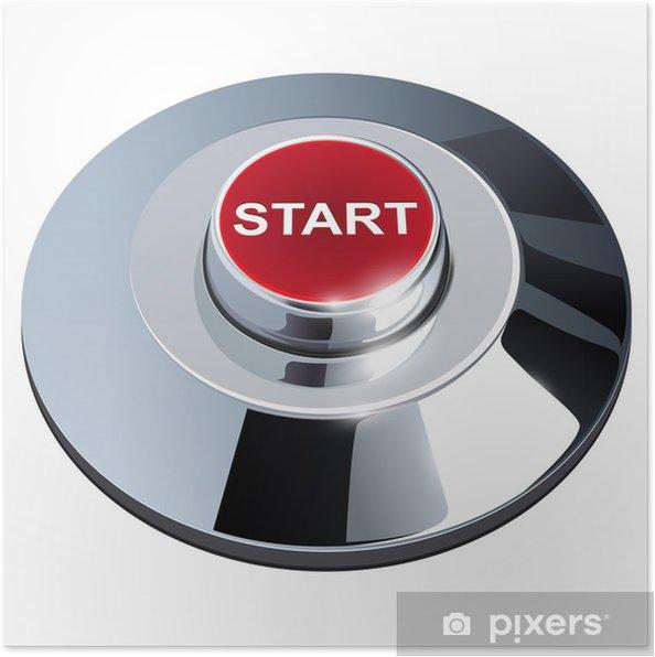 Plakat Kliknij przycisk, 3d czerwony chrom metaliczny, samodzielnie. - Internet i sieci