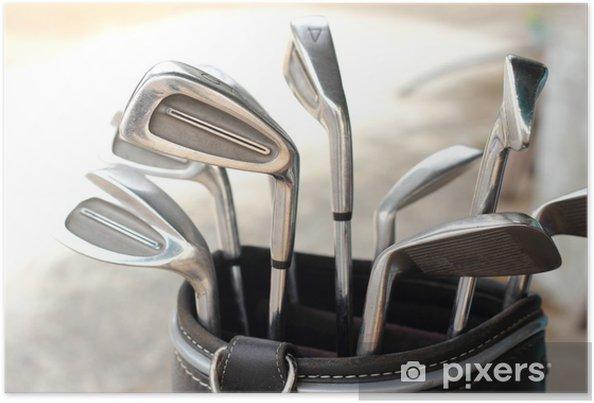 Plakat Kluby golfowe w torbie metalu - Golf