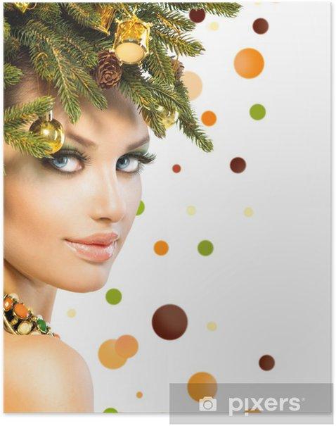 Plakat Kobieta Boże Narodzenie. Zima Kobieta z Christmas Fryzura - Święta międzynarodowe