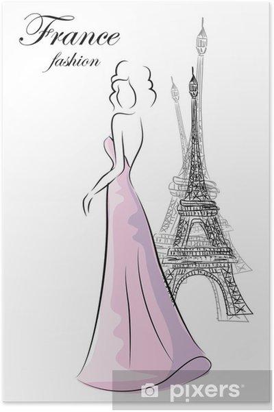 Plakat Kobieta mody w Paryżu - Moda