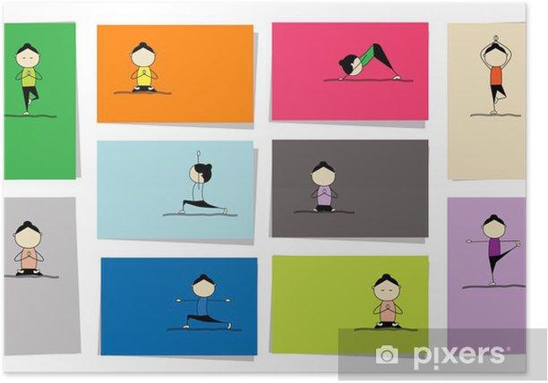 Plakat Kobieta praktykuje jogę, 10 karty do projektowania - Sporty indywidualne