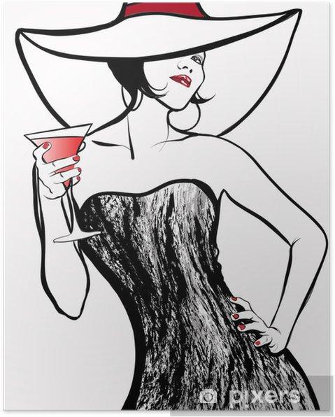 Plakat Kobieta w kapeluszu picia koktajl - Moda
