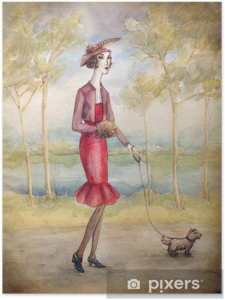 Plakat Kobieta w sukni z psem - Sztuka i twórczość