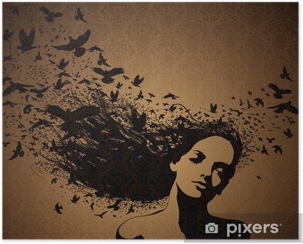 Plakat Kobieta z lotu ptaków z jej włosów. - Tematy