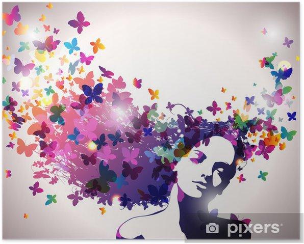 Plakat Kobieta z motylami we włosach. - Moda