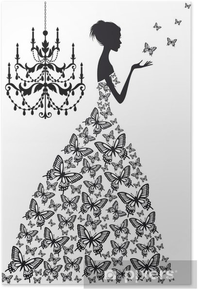 Plakat Kobieta z motylami, wektor - Moda