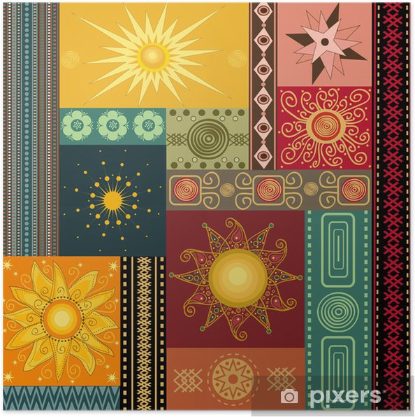Plakát Koláž malování se sluncem - Meziplanetární prostor