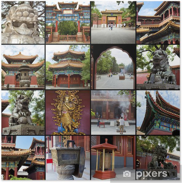 Plakát Koláž - Peking, Lama Temple, Yonghe Gong Dajie - Asijská města