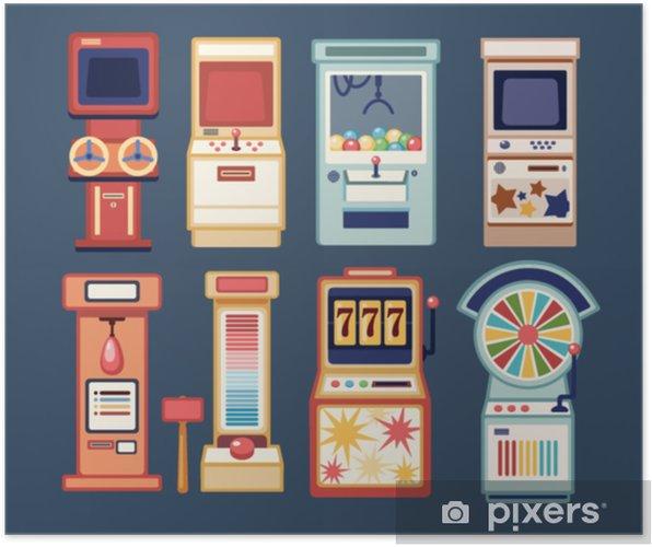 Plakat Kolekcja Gier Wideo Arcade Automatów Do Gry W Monety I Automaty Do Gier Hazardowych W Kasynie Na Białym Tle Na Szarym Tle Zestaw Urządzeń Do
