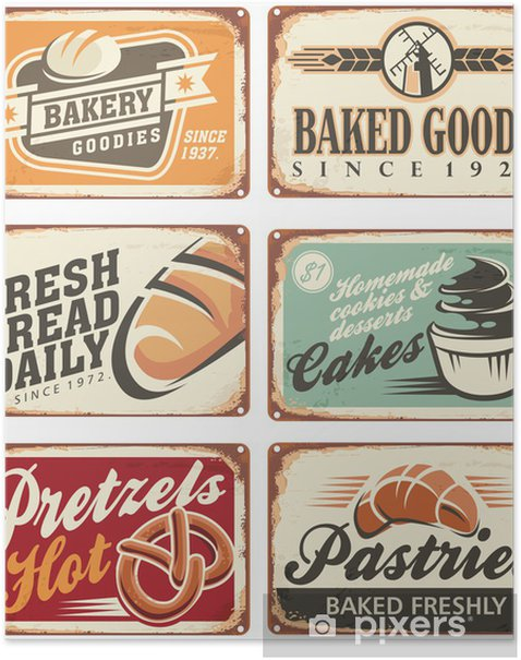 Plakat Kolekcja rocznika wektora piekarniczych znaków - Sprzedaż